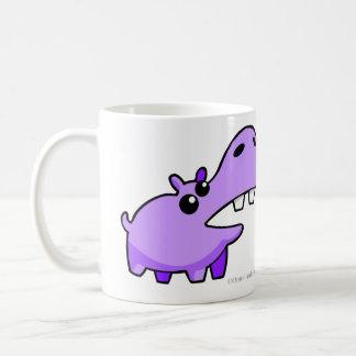 Paarse Gelukkige Hippo die mokken en koppen drink