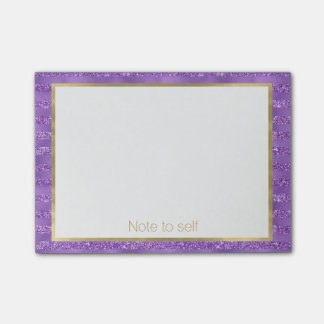 Paarse Gepersonaliseerde Strepen Glittery Post-it® Notes