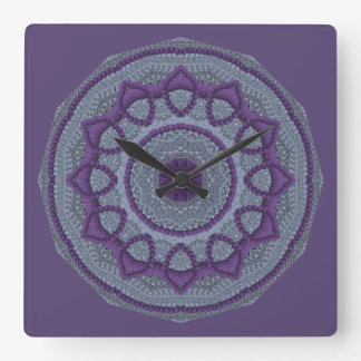 Paarse Grijze Mandala Vierkante Klok