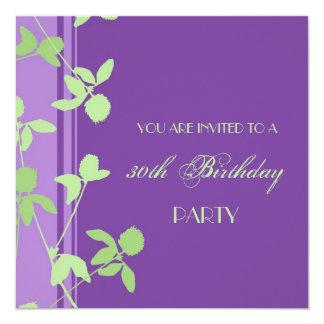 paarse Groen van de 30ste van de Verjaardag 13,3x13,3 Vierkante Uitnodiging Kaart