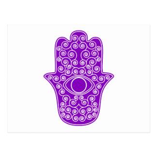 Paarse hamsa-Hand van miriam-Hand van Fatima.png Briefkaart