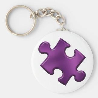 Paarse het Stuk van het Raadsel van het autisme Basic Ronde Button Sleutelhanger