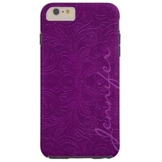 Paarse In reliëf gemaakte BloemenBlik 2 van het Tough iPhone 6 Plus Hoesje