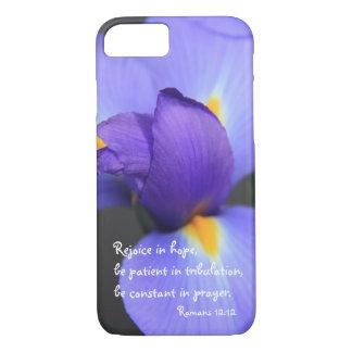 Paarse Iris, het Vers van de Bijbel over Hoop, iPhone 8/7 Hoesje