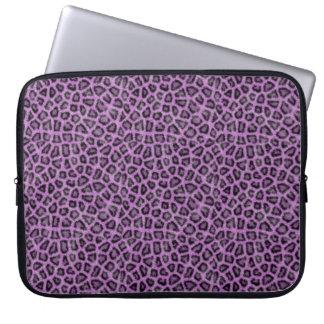 Paarse leodruk laptop sleeve