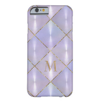 Paarse Moeder van Parel met Gouden Monogram Barely There iPhone 6 Hoesje