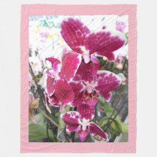Paarse Orchideeën Fleece Deken