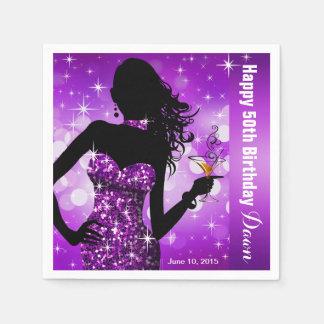 Paarse Partij van de Verjaardag van de Fonkeling Wegwerp Servetten