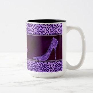 Paarse Pompen en Jachtluipaard Tweekleurige Koffiemok