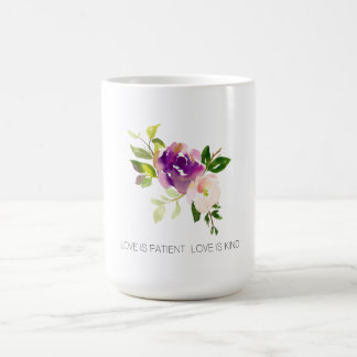 Paarse Roze Waterverf Bloemen Koffiemok