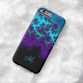 Paarse Turkooise Fractal van het monogram iPhone 6 Barely There iPhone 6 Hoesje