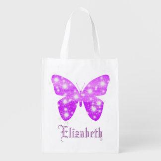 Paarse vlinder en sterren gepersonaliseerd met herbruikbare boodschappentas