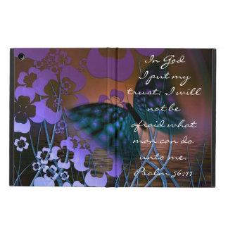 Paarse vlinder en van de bloemenbijbel versPsalm iPad Air Hoesje