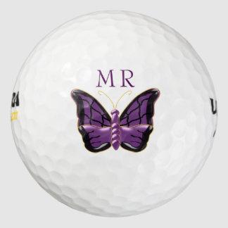 Paarse Vlinder Met monogram Golfballen