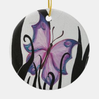 Paarse Vlinder Rond Keramisch Ornament