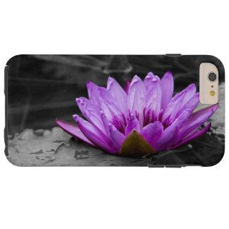 Paarse Waterlelie 002 Zwart-witte Achtergrond Tough iPhone 6 Plus Hoesje