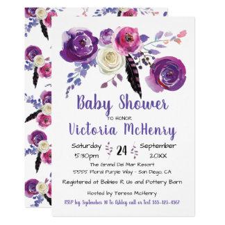 Paarse waterverf BloemenBoho BabyShower Kaart