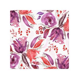 Paarse waterverf + De roze BloemenDruk van het Canvas Afdrukken