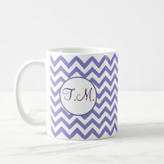 Paarse Zigzag Met monogram Koffiemok