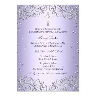 Paarse Zilveren Werveling & DwarsDoopsel/Doopsel 12,7x17,8 Uitnodiging Kaart