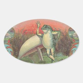 Pad en Paddestoel Ovale Sticker