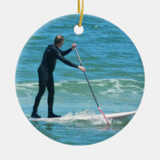 Paddleboarding Rond Keramisch Ornament