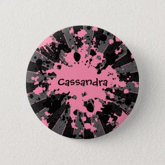 Paintball ploetert roze ronde button 5,7 cm