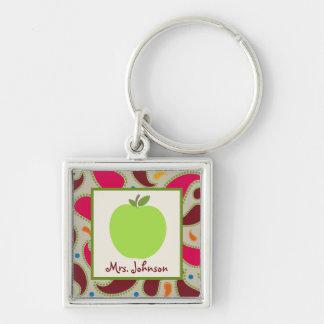 Paisley & Groene Apple Gepersonaliseerde Leraar Sleutelhanger