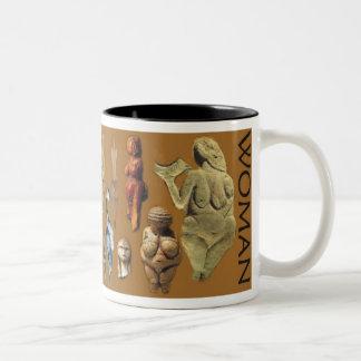 Paleolitische Vrouw Tweekleurige Koffiemok