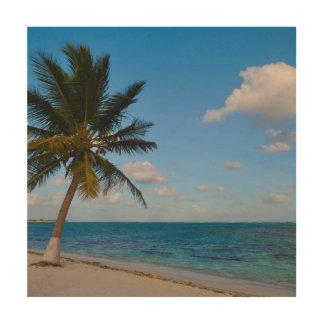 Palm op een Strand Hout Afdruk