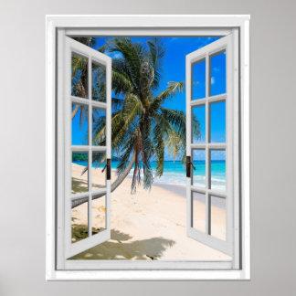 Palmen en het OceaanVenster van Faux van het Poster