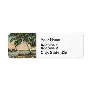palmen wijnoogst etiket