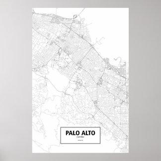 Palo Alto, zwart Californië (op wit) Poster