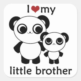 Panda - de liefde van I mijn kleine broer - Vierkant Stickers