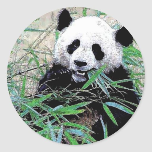 Panda die Bladeren eten Ronde Sticker