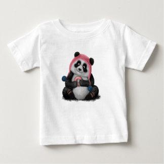 Panda die een doughnut eten baby t shirts