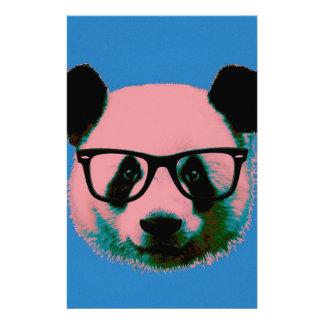 Panda met glazen in blauw briefpapier