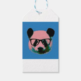 Panda met glazen in blauw cadeaulabel