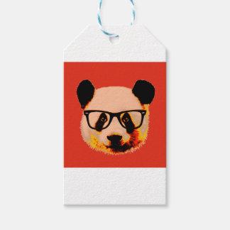 Panda met glazen in rood cadeaulabel
