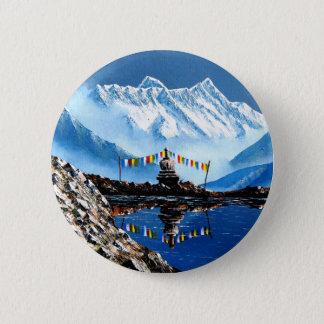 Panorama van Annapurna Berg Nepal Ronde Button 5,7 Cm