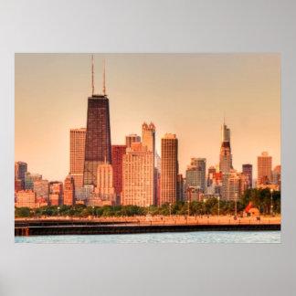 Panorama van de horizon van Chicago bij zonsopgang Poster