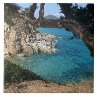 Panorama van het zee van Sardinige Keramisch Tegeltje