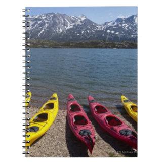 Panorama van kajaks op Meer Bernard in Alaska 2 Ringband Notitieboek