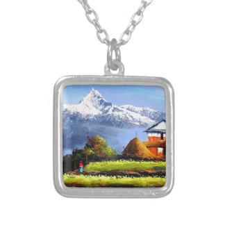 Panorama van Mooie Berg Everest Zilver Vergulden Ketting