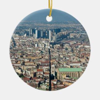 Panorama van Napels Rond Keramisch Ornament