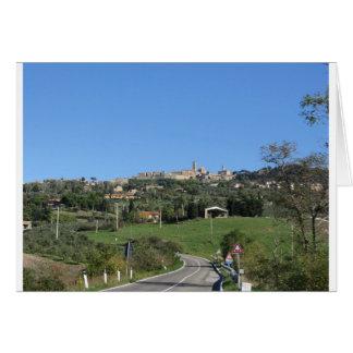 Panorama van Volterra dorp, provincie van Pisa Kaart