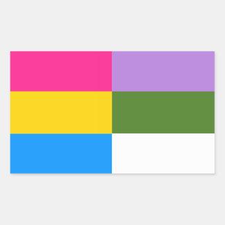 Pansexual/genderqueer vlagstickers rechthoekige sticker