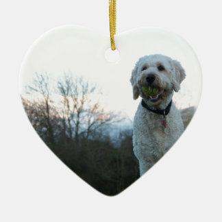 Papaver de labradoodlehond keramisch hart ornament