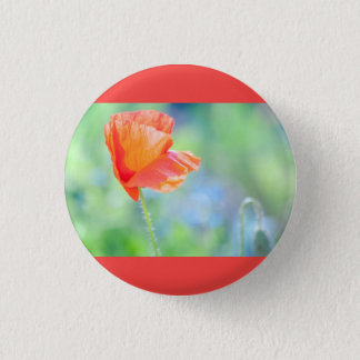 Papaver in de wind ronde button 3,2 cm