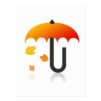 Paraplu en bladeren briefkaart